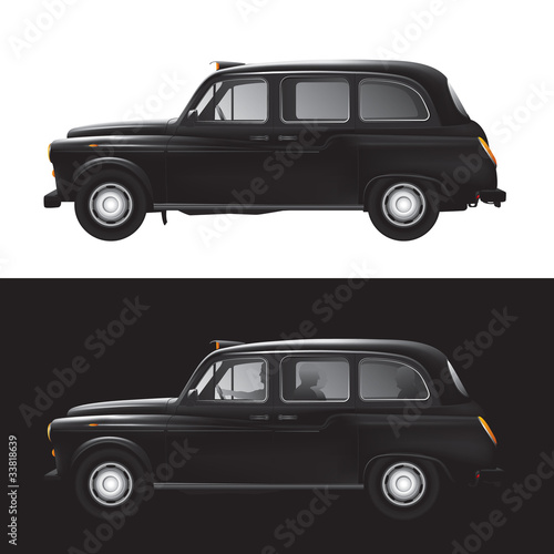 London symbol -  black cab - isolated - businessman - bankers - 33818639