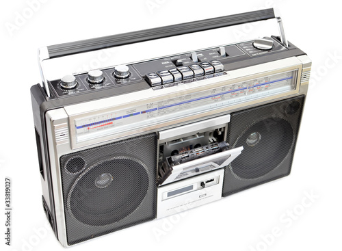 Radio cassette recorder, isolated on white, opened cassette deck