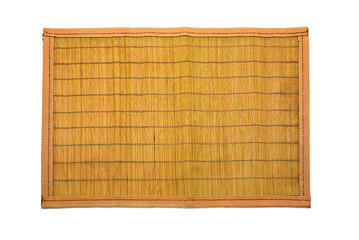 Wooden mat sheathed by the cloth, isolated on white.