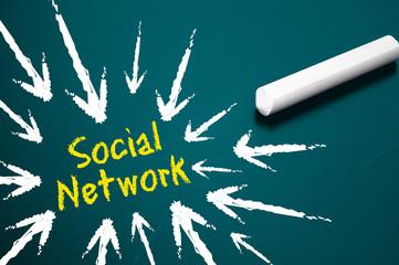 Tafel mit Social Network