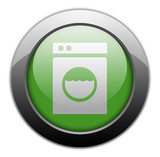 "Green Metallic Orb Button ""Laundromat"""