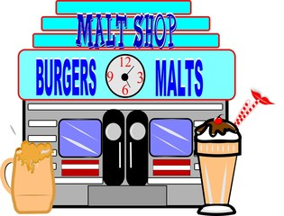 retro malt shop from fifties on white