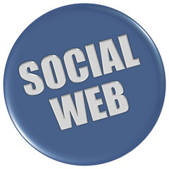 Button blau rund SOCIAL WEB