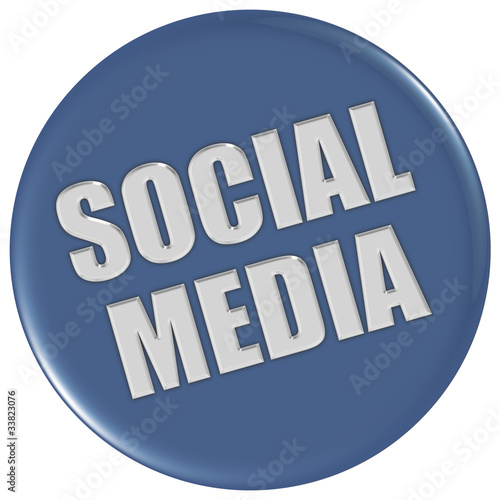 Button blau rund SOCIAL MEDIA