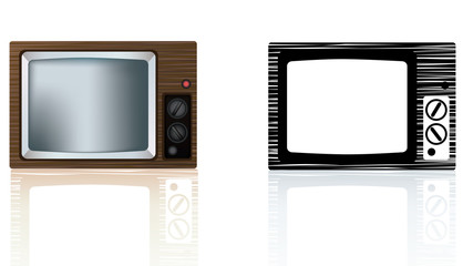 old style 1970s or 1980's wooden portable tv