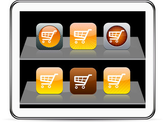 Orange Shopping cart  app icons.