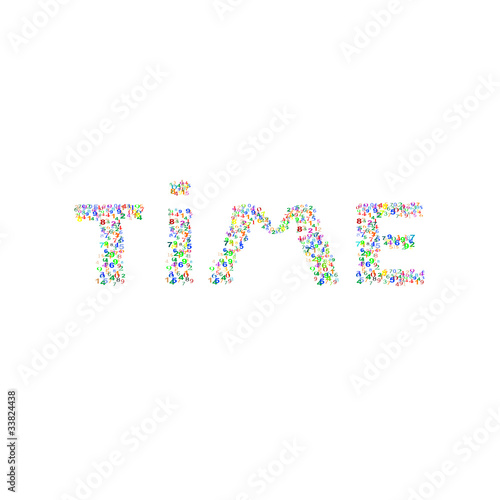 Time word made from many colorful numbers