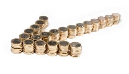 Pfeil aus 1-Euro Stücken - Ansicht von der Seite
