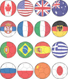 Soccer ball flags - vector