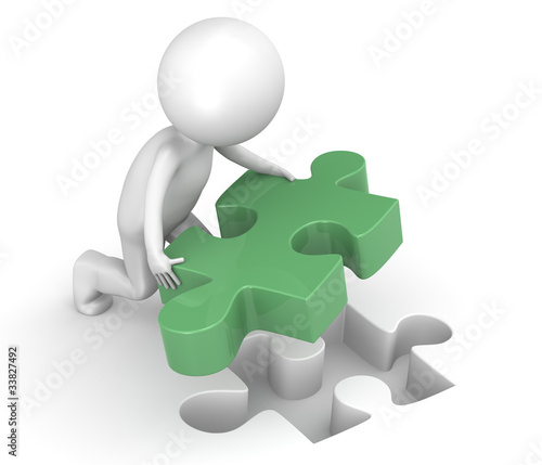 Solution. 3d little human character with Green Jigsaw