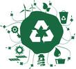 Terra verde com conjunto de ícones