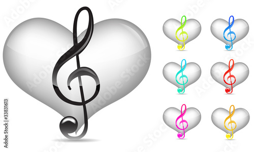 set of white music note with blue heart isolated on white