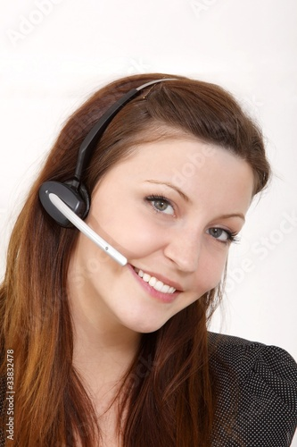 young beuatiful woman with headset