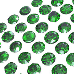 Round gemstone  isolated.Eemerald.Peridot