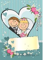 Newlyweds turquoise background Vertical