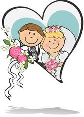 Newlyweds turquoise heart