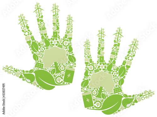 hand made of green vector icons - renewable energy