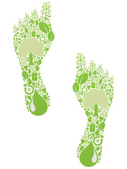 foot made of green vector icons - renewable energy