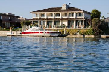 Newport Beach, California, USA, outside of a home.