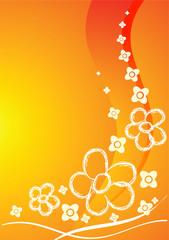 Orange card with flowers