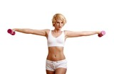 blond woman with dumbbell (white background)
