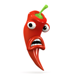 3d Red hot chili pepper is totally shocked