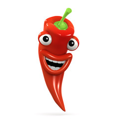 3d Red hot chili pepper is laughing