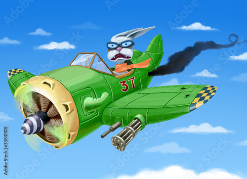 The green fighter plane with a rabbit in a cabin is falling down