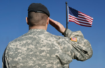 Soldier Salutes Flag