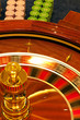 wooden roulette wheel spinning