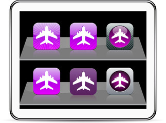 Aircraft purple app icons.
