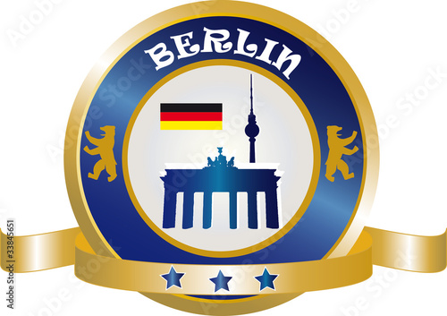 Berlin Button mit Brandenburger Tor