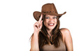 Sexy cowgirl smiling and tapping her hat