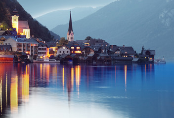 Night shot of The Hallstatt city in a Austria - Europe.