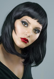 Fototapety Brunette Extreme makeup. Haircut
