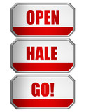 open, hale and go door sign