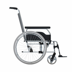 Empty wheelchair on white isolated background