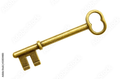 Gold key isolated on white