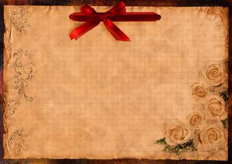 altes briefpapier mit roter schleife
