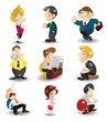 cartoon office workers icon.