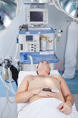 Patient lying in operation theatre