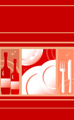 red background for menu of restaurant