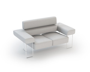 White modern Leather Sofa on White Background