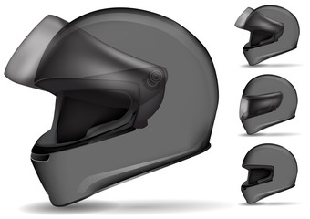 set of gray motorcycle helmet isolated on white