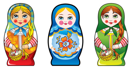 Traditional Russian matryoshka (matrioshka) dolls, vector