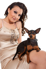 fashion woman with dog shoulder