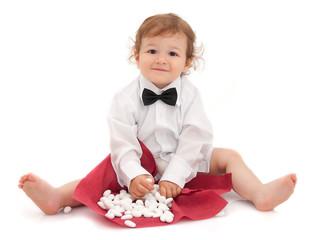 Bimbo vestito da cerimonia con confetti