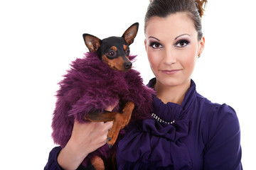 woman and fancy dog