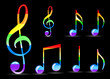 set of glossy rainbow music note isolated on black