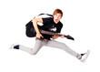 Leinwandbild Motiv Young teenager jumping with guitar
